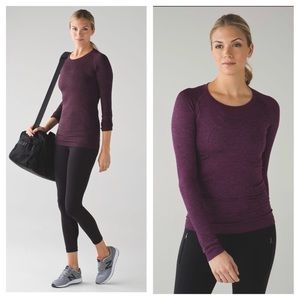 Lululemon Swiftly Tech Long Sleeve Crew Black/Plum